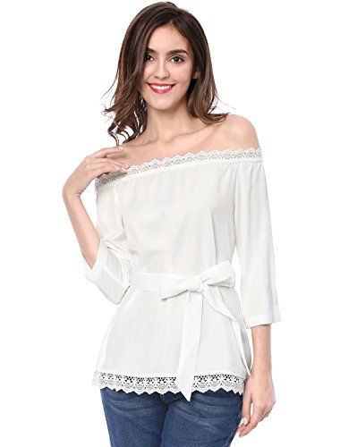 Allegra K Women's Off The Shoulder Lace Trim Self Tie 1/2 Sleeves Top L White ()