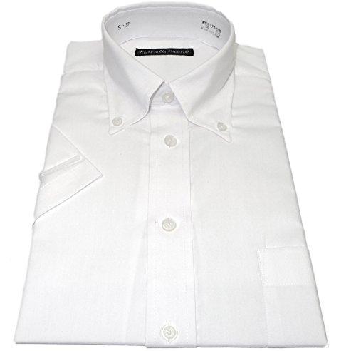 処方小説小切手(レインポウ コレクション) Rainpow Collection 【半袖 ボタンダウン】 白 ワイシャツ