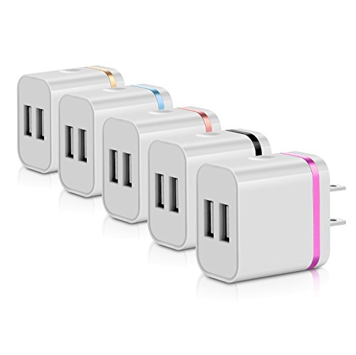 USB Wall Charger,5-Pack 5V/2.4A Dual Port USB Plug Power Adapter Charging Cube/Block/Box/Brick Compatible with iPhone X 8/7/6 Plus SE/5S/4S, iPad, iPod, Samsung, Android Phone