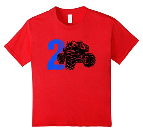 Kids 2 Year Old Monster Truck 2nd Birthday TShirt 4 Red