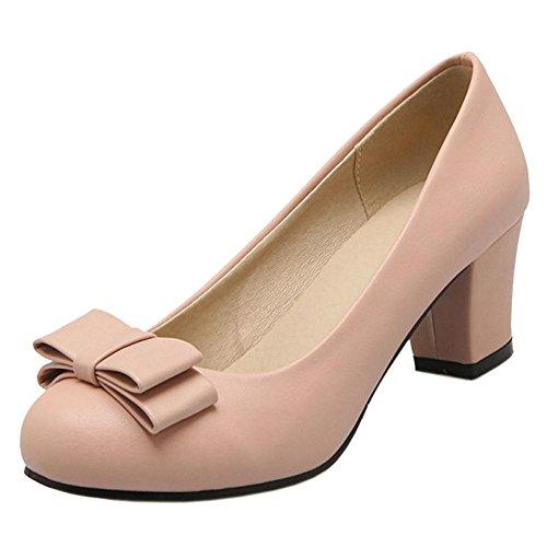 Pink Heel Office Women JOJONUNU Block Shoes Ewzcq8