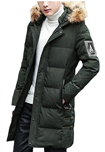 Warm Padded Army amp;S Coats M Down Men's amp;W Puffer Thick Green Fur Collar 1n6tqpWBF