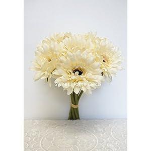 Sweet Home Deco 13'' Silk Artificial Gerbera Daisy Flower Bunch (W/ 7stems, 7 Flower Heads) Home/Wedding 2