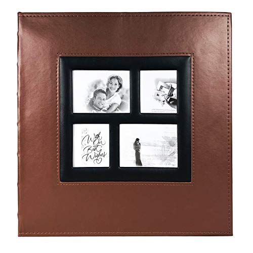 RECUTMS Self Adhesive Photo Album Scrapbook Album 60 Magnetic Double Sided Pages Leather Hardcover 13.3 x 13.4 (Inches) Large Leather Family Photo Albums with Sticky Page(Brown)