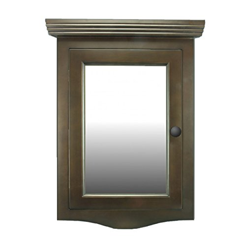 Corner Medicine Cabinet Dark Brown Oak Hardwood Wall Mount Recessed Mirror Easy Clean (Dark Oak Mirror)