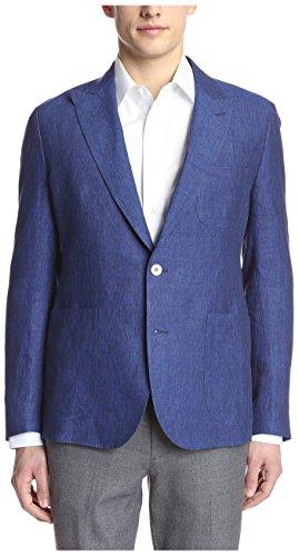 Hardy Amies Men's 2 Button Patch Pocket Peak Lapel Linen Sportcoat, Indigo, 42R US