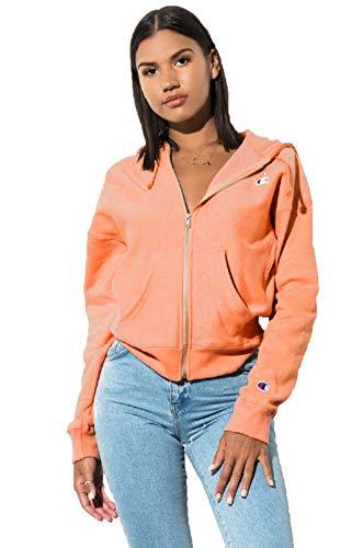 (Champion LIFE Women's Reverse Weave Full Zip Hood, Groovy Papaya S )