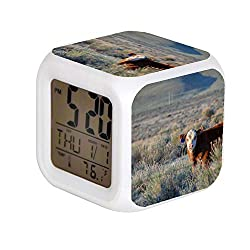 Aekdie LED Alarm Colock 7 Colors Changing Digital Desk Gadget Digital Alarm Thermometer Night Glowing Cube led Clock Home Children's White and Brown Cow on Green Grass