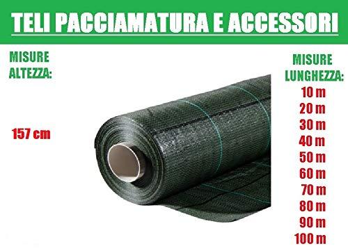ITALFROM Teli Telo per Pacciamatura verde Quadrettato Tessuto Polipropilene Antistrappo - h 157 cm (L 40 m)