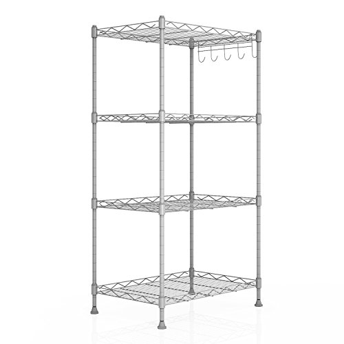 Homdox 4-Shelf Unit Kitchen Wire Shelving rack Commercial Grade Adjustable Storage Shelves Organizer, Silver