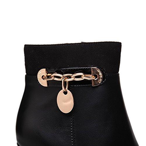AgooLar Damen Schließen Zehe Blend-Materialien Rein Stiefel Schwarz-Kette
