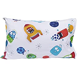 "J-pinno Spaceship Universe Adventure Cute Cartoon Pillowcase 100% Natural Cotton 20"" X 30"" for Kids Toddler Boys Girls Bedding Decoration (1)"