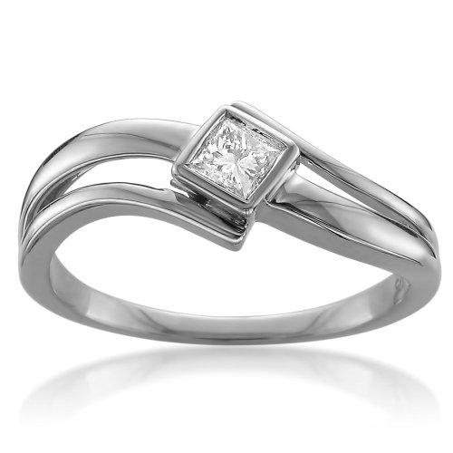 14k White Gold Princess-cut Solitaire Diamond Bezel-Set Engagement Ring (1/5 cttw, I-J, I2-I3), Size 7