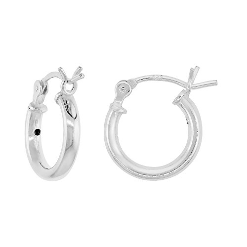 Tiny Sterling Silver Small Tube Hoop Earrings with Post-Snap Closure 2mm thick 1/2 inch round ()