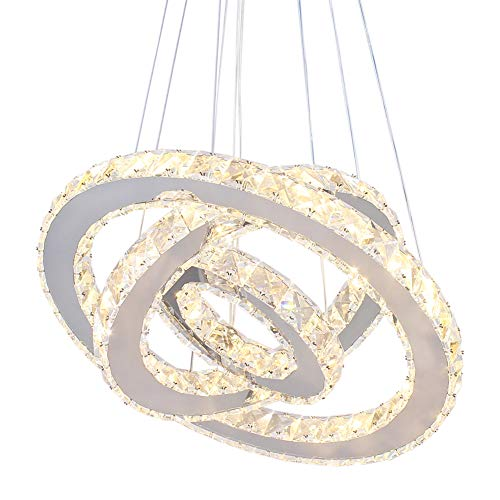 Dixun LED K9 Modern Crystal Chandeliers Pendant Lights Rings Ceiling Light  Adjustable Stainless Steel Pendant Light for Bedroom Living Room Dining Room(Warm White)
