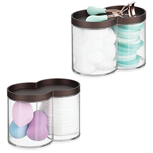 mDesign Plastic Bathroom Vanity Countertop Canister Jar, Storage Lid - Stackable - Divided, Double Compartment Organizer for Cotton Balls, Swabs, Bath Salts - 2 Pack - Clear/Bronze - Earrings Vintage Ball In