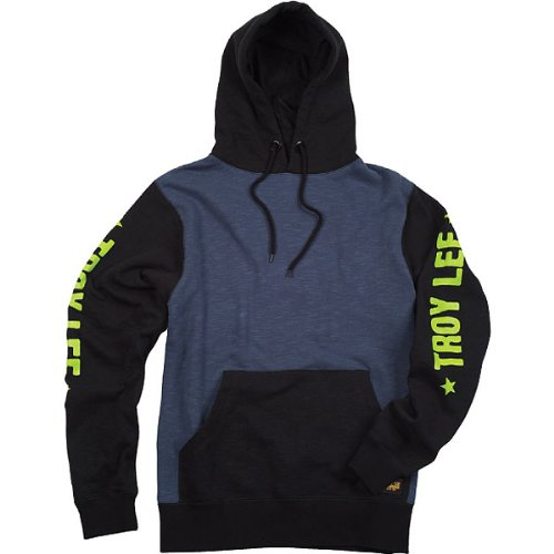 Troy Lee Designs Course Fleece Men's Hoody Pullover Sports Wear Sweatshirt - Black/Blue / X-Large Lee Sports Sweatshirt