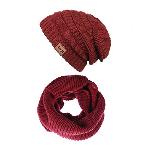 Aurya Winter Cable Knit Beanie Hat and Infinity Scarf Set,Thick Warm Skull Cap Hat for Men and Women (Flame Red)