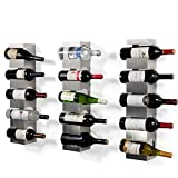 Wall Mounted Stainless Steel Wine Rack - Set of 3 - Wide Multi Sectional Bottle Holder with Top Shelf Section Stackable Modern Art Design Display (Holds 15 Bottles)