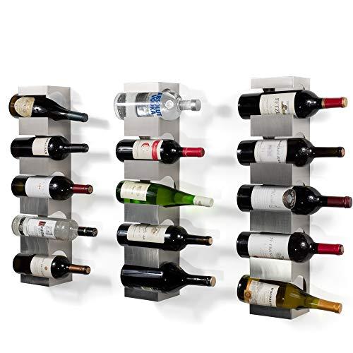 Liquor Display Stainless Steel - Set of 3 Stainless Steel Wine Rack - Wide Multi Bottle Holder with Top Shelf Section - Modern Art Design - Wall Mount (Holds 15 Bottles)