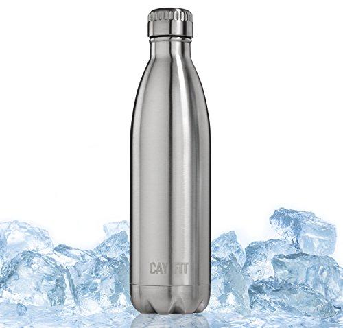 Cayman Fitness Trinkflasche - 500 ml oder 740 ml - Doppelwandige Edelstahl Wasserflasche (740 ml)