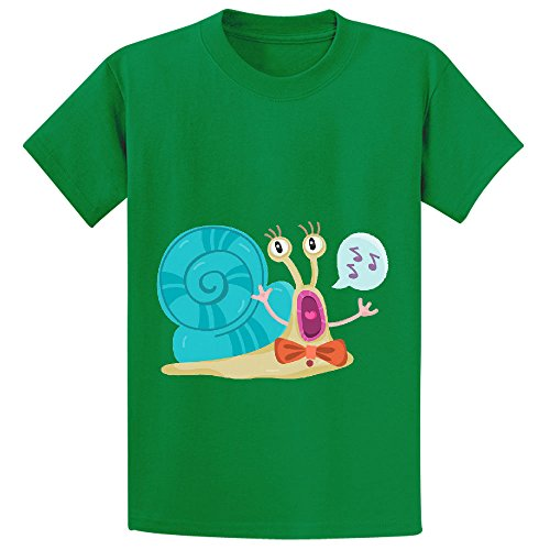 Mcol Cute Snail Teen Crew Neck Cotton Shirts Green