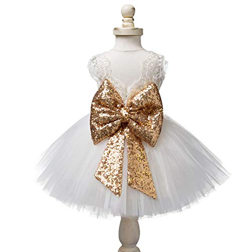 EsTong Newborn Baby Girls Sequins Bowknot Floral Princess Dresses Tulle Tutu Outfit Clothes White 4-5Y ()