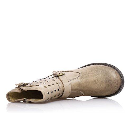 Naturino Beige Stiefel Aus Leder, Herausnehmbare Innensohle, Anatomische und Antibakteriell, Mädchen