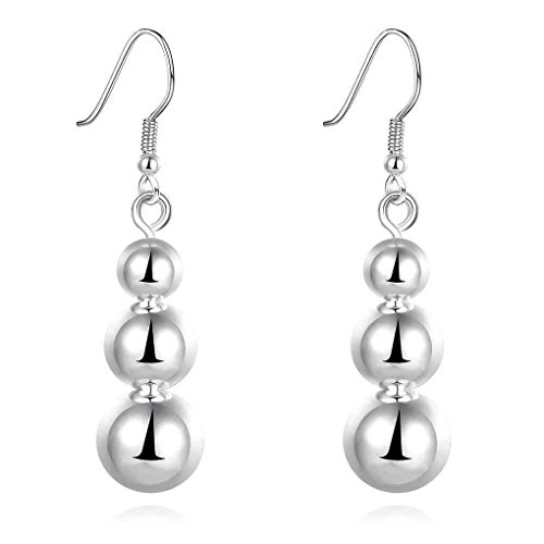 fonk: india silver plated earing Three beads drop pendientes to.us bear prices in euros SMTE699
