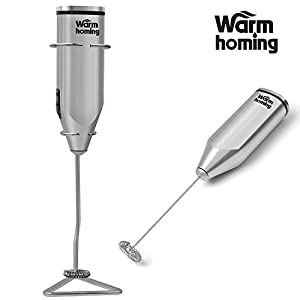 Milk Frother - Stainless Steel Electric Milk Frother with Stand for Chocolate Milk Coffee Tea Bar Kitchen Home Cappuccino Maker from Lady-hill