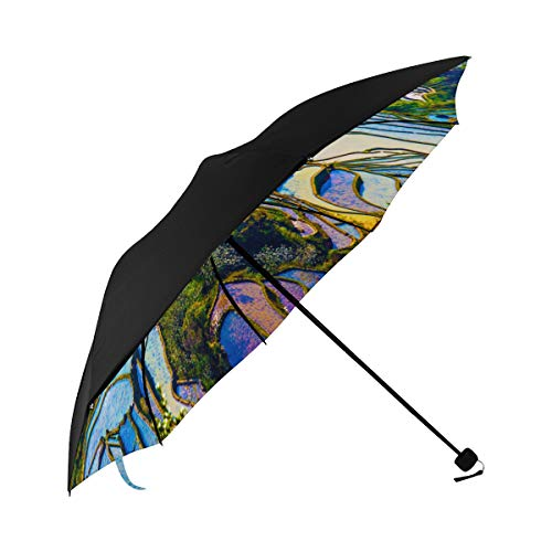 Yunnan City Free Travel Romantic Color Compact Travel Umbrella Sun Parasol Anti Uv Foldable Umbrellas(underside Printing) As Best Present For Women Sun Uv Protection ()