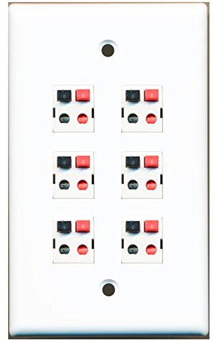 RiteAV 6 Port Speaker Jack Single Gang White Wall Plate for