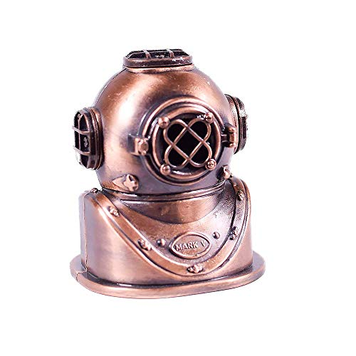 Die Cast Bronze Deep Sea Divers Helmet Sharpener - Collectible Miniature Figurine - Diver Rare Pencil Accessory - Antique Finished Ornament ()