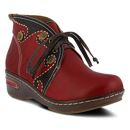 L`Artiste by Spring Step Women's Leather Booties Cookie Red EU Size 36