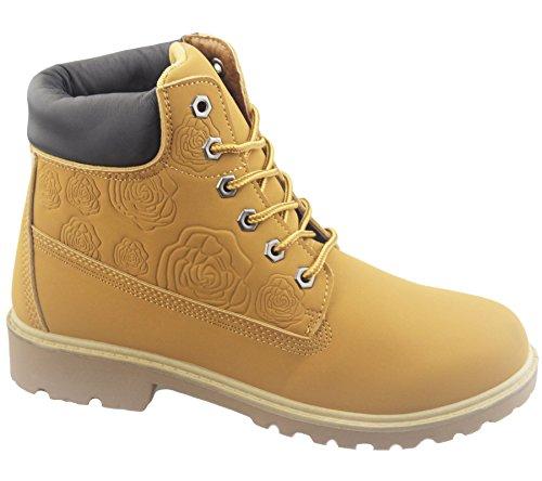 Damen Stiefel, knöchelhoch, geeignet für Wandern/Wüstenpfad, verarbeitete Senkel Honig