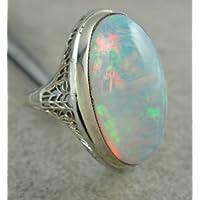 khamchanot 925 Silver Fashion Large White Fire Opal Womens Ring Engagement Wedding Jewelry (6)