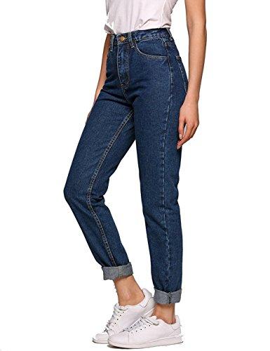 Womens Dark Blue Jeans - Romanstii Women's High Waist Mom Jeans,Boyfriend Straight-Leg Denim Pants (Dark Blue, 24(US 0))