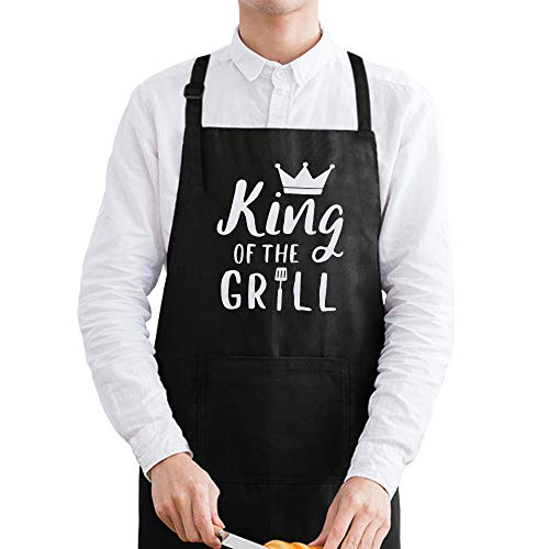 King of The Grill Apron, BBQ Grill Apron - Funny Apron for Men Dad, Personalized Birthday Kitchen Gifts for Him Husband