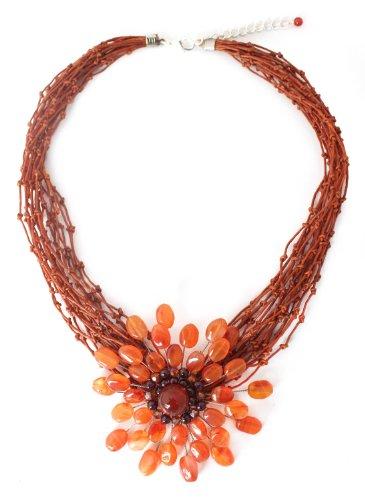 Carnelian and garnet flower necklace, 'Bold Marigold' - Fair Trade Floral Carnelian Necklace