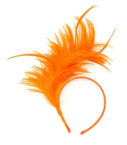 Felizhouse 1920s Fascinator with Feathers Headband for Women Kentucky Derby Wedding Tea Party Headwear (Orange)