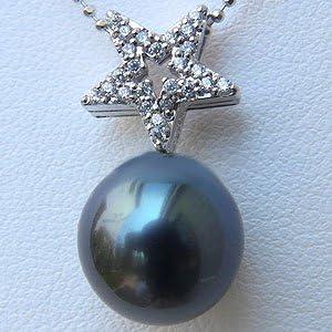 タヒチ黒蝶真珠 ペンダントトップ K18WG ホワイトゴールド グリーン系 ダイヤモンド 0.15ct