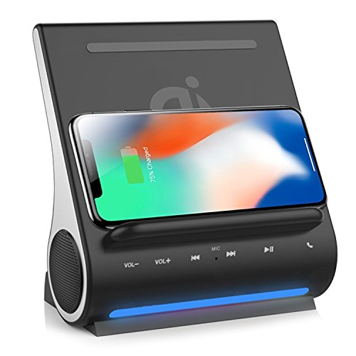 Qi Wireless Charging Docking Station Fast 15W and Bluetooth Speaker System D108 Super Bass Stereo Output 10W with Multi USB Ports for iPhone X/8/8plus iPad Android Samsung S8/S8plus by DORNLAT (Image #1)