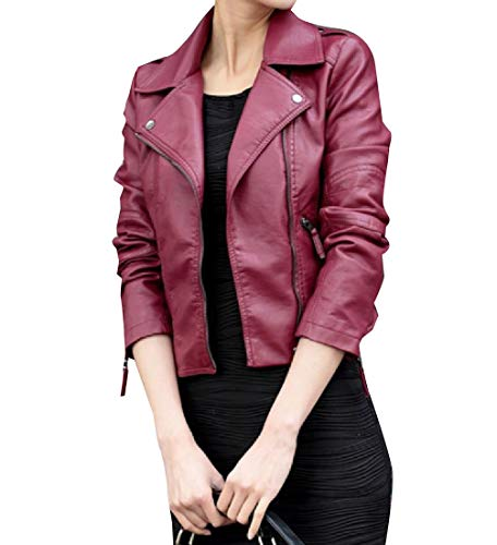 Giacca Pu Pelle Rkbaoye Autunno In Trench Outwear Rossa Inverno Donne Biker x8XqXrE