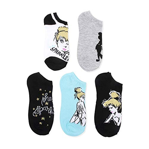 Disney Tinkerbell Ladies and Juniors 5 Pk (5 Pairs) No Show Socks ()