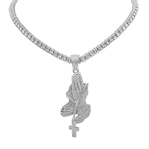 White Gold-Tone Iced Out Hip Hop Bling 1 Praying Hands Cross Pendant with Row Stones Tennis Chain 20
