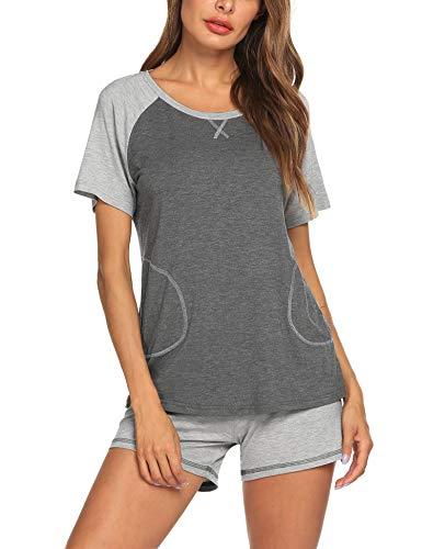 - Ekouaer Pajamas Set Round Neck T-Shirt Short Shorts Sleepwear Set Medium Grey L