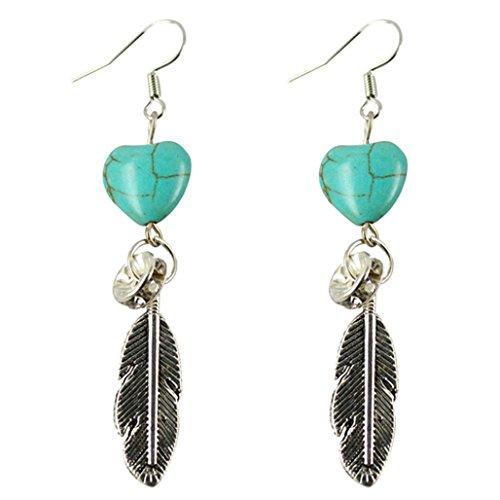 (Hemlock Women Lady Turquoise Pendant Earrings Eardrop Jewelry (Silver2))
