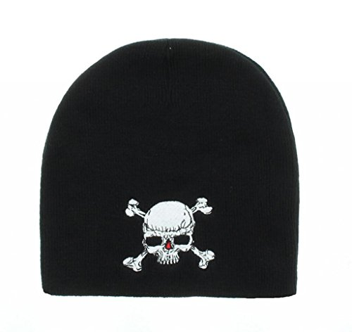 Skull & Crossbones Embroidered Beanie (Beanie Embroidered Butterfly)