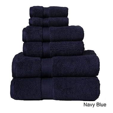 Ben&Jonah Designer Plush 6 Piece 100% Cotton Towel Set -Navy