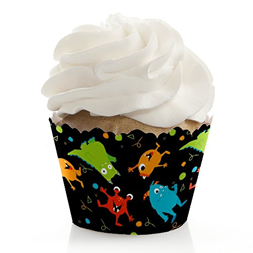 Monster Bash - Little Monster Birthday Party or Baby Shower Decorations - Party Cupcake Wrappers - Set of 12 -